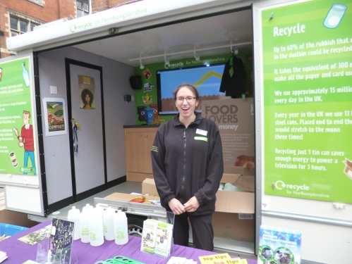 Flying The Green Flag for Northamptonshire. Rachel and the NWEET team promoting green living and the many services and opportunities they provide www.greenernorthants.org