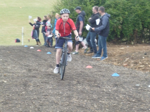 Making the steep gravel path look easy!